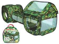 3 PIECE ARMY CAMOUFLAGE KIDS POP UP ADVENTURE PLAY TENT HOUSE & TUBE TUNNEL CAMP