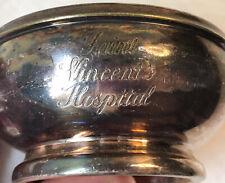 Antique Saint St Vincent's Hospital Hotel Silver Soldered Finger Bowl Dish