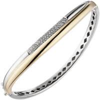 Armreif ovaler Armband mit 55 Diamanten Brillanten, 585 Gold Gelbgold Weißgold