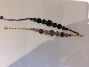 Set of 2 bracelets with circular design -Purple and gold, black and grey