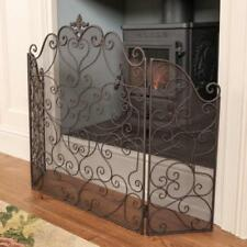 Fireplace Fire Screen Country Cast Iron Fireguard Mesh Protection Antique Style