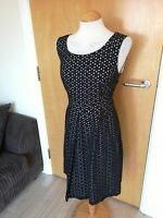 Ladies TU Dress Size 14 Black White Broderie Anglaise Fit And Flare Smart Party