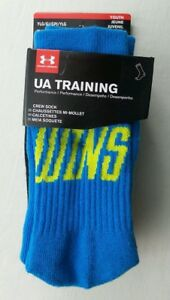 Under Armour TRAINING Youth Crew Socks 3 Pack Large YL Blue Black Speed Wins New