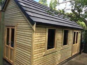 24x10 Timber Framed Outbuilding Workshop summer house offices shed Log cabin Uk