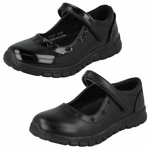 Spot On Girls Flat School Shoes