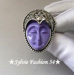 🌟 Superbe bague plaqué argent 925 décorée visage déesse Balinaise mauve T 59