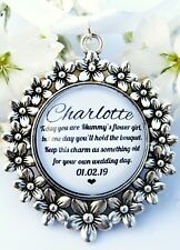 Mummys Flower Girl Bouquet Charm Something Old Quote Flowers Charm Wedding Gift
