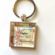 OGDEN UTAH USA PINE VIEW CLEARFIELD Map Square keychain key ring ATLAS