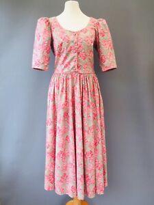 Laura Ashley Vtg Floral Cotton Midi Dress 10  8 Pockets British tea party J6