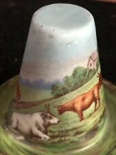 Antique German/Czech Gemma Painted Porcelain Hat With Cattle & Mountain Scene