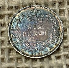 More details for 1887 victorian silver sixpence 0.9250 aef toned