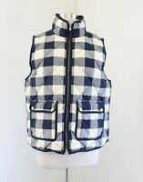 J Crew Excursion Quilted Vest in Buffalo Plaid Check Size L Blue Down Feather