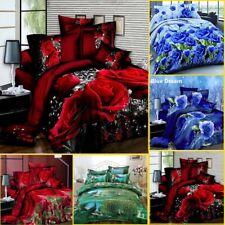 4x Print 3D Duvet Cover Bedding Set Queen Size Quilt Cover Bed Sheet Pillowcases