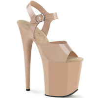 Pleaser FLAMINGO-808N Women's Cream Jelly-Like TPU Platform Ankle Strap Sandals