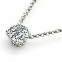 2.00Ct Round D/VVS1 Diamond Solitaire Pendant Necklace Solid 14K White Gold Over