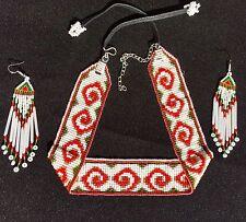NEW WOMEN WHITE BEADED HANDMADE CHUNKY CHOKER/NECKLACE  AND EARRINGS SET S54/7