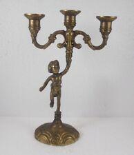 Messing Kerzenhalter mit Putte, 3 flammig, ca. 30 cm, 768 g schwer