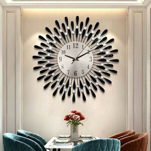 3D Large Diamante Beaded Crystal Jeweled Sunburst Wall Clock Living Room Kitchen