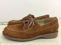 ASPEN - Vtg 70s-80s Brown Suede Leather Boat Shoes, Womens 5.5 - EXCELLENT!!