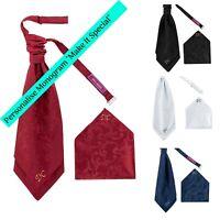 Handkerchief Set Details about  /Men/'s Premium Pre-Tied Cravat Scrunchie Satin Finish Branded