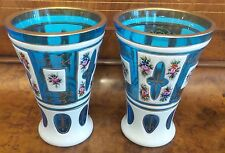 TWO BOHEMIAN CZECH Cased Glass VASES White Overlay Cut  TURQUOISE WITH ENAMEL
