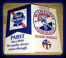1975-76 MILWAUKEE ADMIRALS PABST BLUE RIBBON HOCKEY POCKET SCHEDULE FREE SHIP