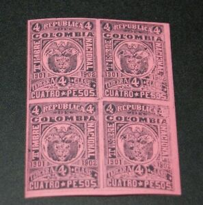 Colombia  Revenue 4 Peso Mint Block of 4 XF 2 NH 2 VLH OG