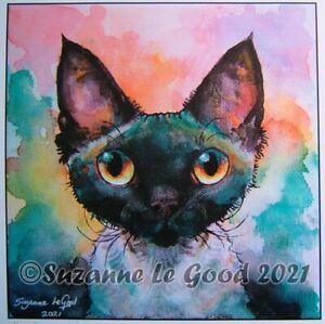 Devon Rex cat art print from original watercolour painting by Suzanne Le Good