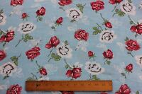 """Vintage American Feedsack Fabric Yardage c1940~Red Roses~Quilts,Sewing~100""""X37"""""""