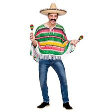 Mexican Man Poncho Wild Western Cowboy Mexico Mens Bandit Fancy Dress One Size