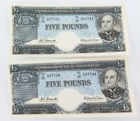 .RARE 2 x EF+ CONSECUTIVE RUNNING R50 1960 AUSTRALIAN 5 POUNDS NOTES. TC16