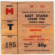 Ticket : Arsenal v Benfica 4/8/1971 Friendly