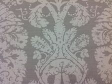 Schumacher Grey Linen Upholstery Fabric- Barresa Damask/Pearl 2.15 yd (174133)
