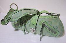 Borsa Donna Pochette color verde Doppia tasca Maniglia singola tessuto lavorato