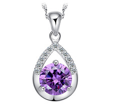 Wholesale 925 Silver Amethyst Pendant Necklace Women Fashion Jewelry Party Gift