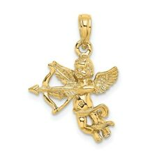 14K Yellow Gold Cupid w/ Bow and Arrow Pendant