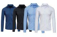 Camicia uomo Sartoriale elegante slim fit tinta unita Stretch bianco celeste blu