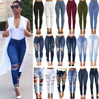 Women's Skinny High Waist Destroyed Jeans Denim Pants Stretch Jeggings Trousers