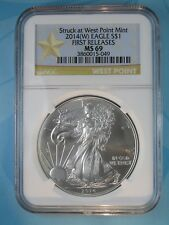 2014 (W) NGC MS69 SILVER EAGLE STRUCK AT WEST POINT FIRST RELEASES STAR LABEL