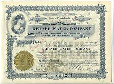Ketner Water Company Stock Certificate Ridgway Pennsylvania