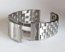 22mm SOLID strait end, Double Lock Cross Links Brushed Stainless Steel Bracelet