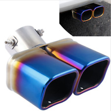 "Universal Chrome Colorful Blue 2.5""Car 1to2 Double Dual Exhaust Pipe Muffler Tip"
