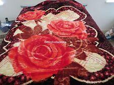 New! King Korean style Mink heavy weight blanket Burgundy Rose Flower New 10 lbs