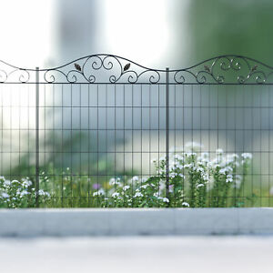 Outsunny Garden Decorative Fence 4 Panels 44in x 12ft Steel Wire Border Edging