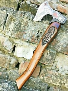 Hand forged Cold steel Viking Axe W/ Leave Engraved Handle Wooden Tactical Axe