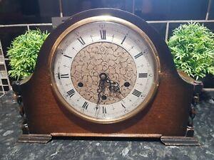 Antique Smiths Westminster Chime Oak Wooden Mantle clock