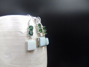 Matching Jewellery Set, Chrome Diopside, White Opal, Gemstones, Sterling Silver