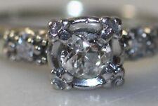 VINTAGE ART DECO .46 TCW PLATINUM MINE CUT DIAMOND RING SIZE 7 W APPRAISAL
