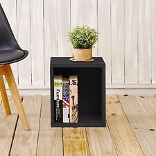 Eco Stackable Tall Open Storage Cube Unit and Modular Cubby Organizer, Black