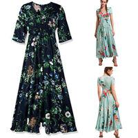 Women Summer Boho Button Floral Tassel Flowy Evening Party Beach Prom Maxi Dress